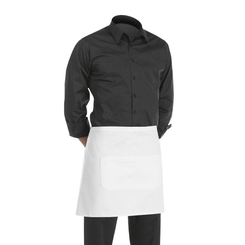 tablier de cuisine court blanc (hauteur : 40cm x largeur : 70cm)