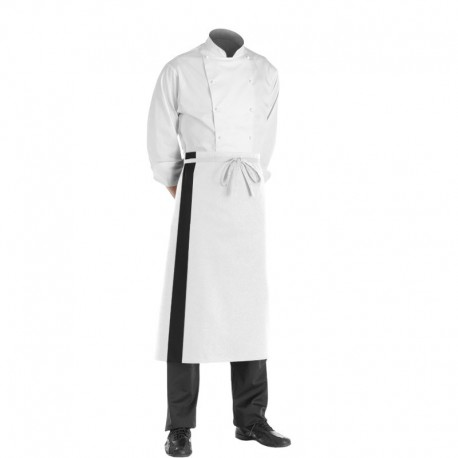 Tablier blanc bande noire - 90cm