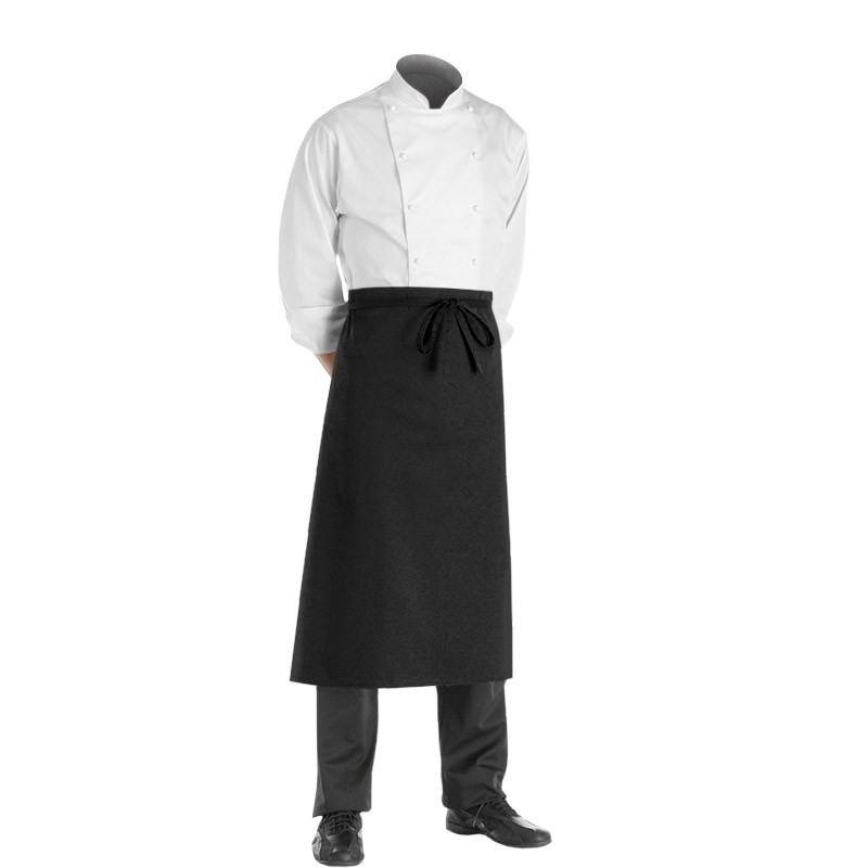 Tablier de service noir Long Chef 90cm
