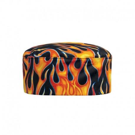 Calot de Cuisine noir avec motif Flammes