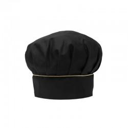 Toque de cuisine noire avec un fin liseré doré