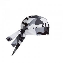 Bandana de cuisine blanc motif camouflage