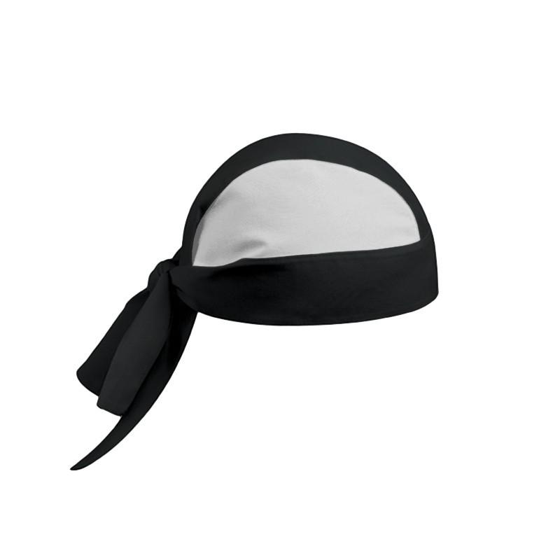 bandana de cuisinier bicolore noir et blanc