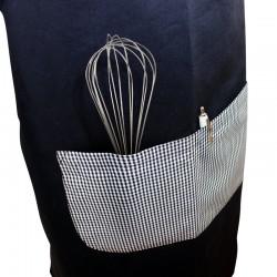 Tablier à bavette élégants motifs vichy noir double poche centrale tout confort