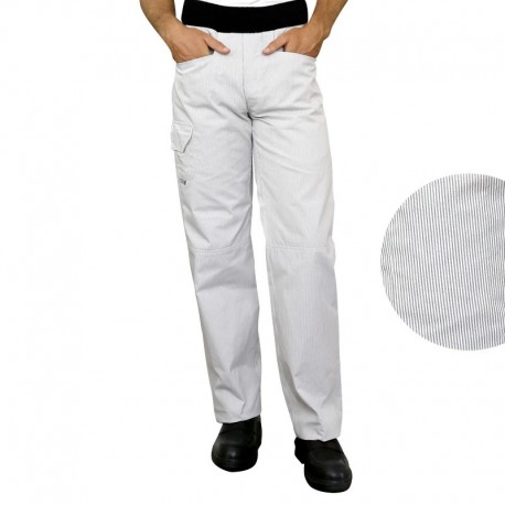 Pantalon de cuisine confort rayé blanc et gris