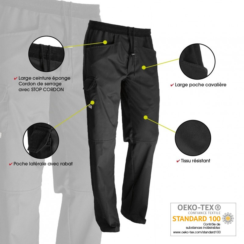 Pantalon de boucher noir confort innovations technologiques