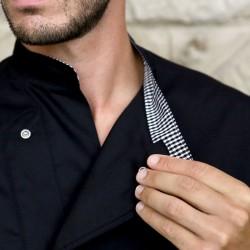 Veste de Cuisine Originale Noire Boutons Pressions Invisibles