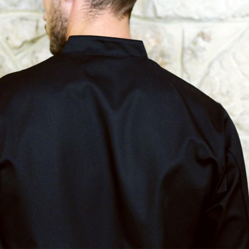 Veste de Cuisine Originale Noire Motifs Petits Carreaux Coupe Confort