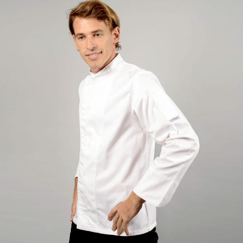 Veste de cuisine grande taille blanche boutons pressions cachés