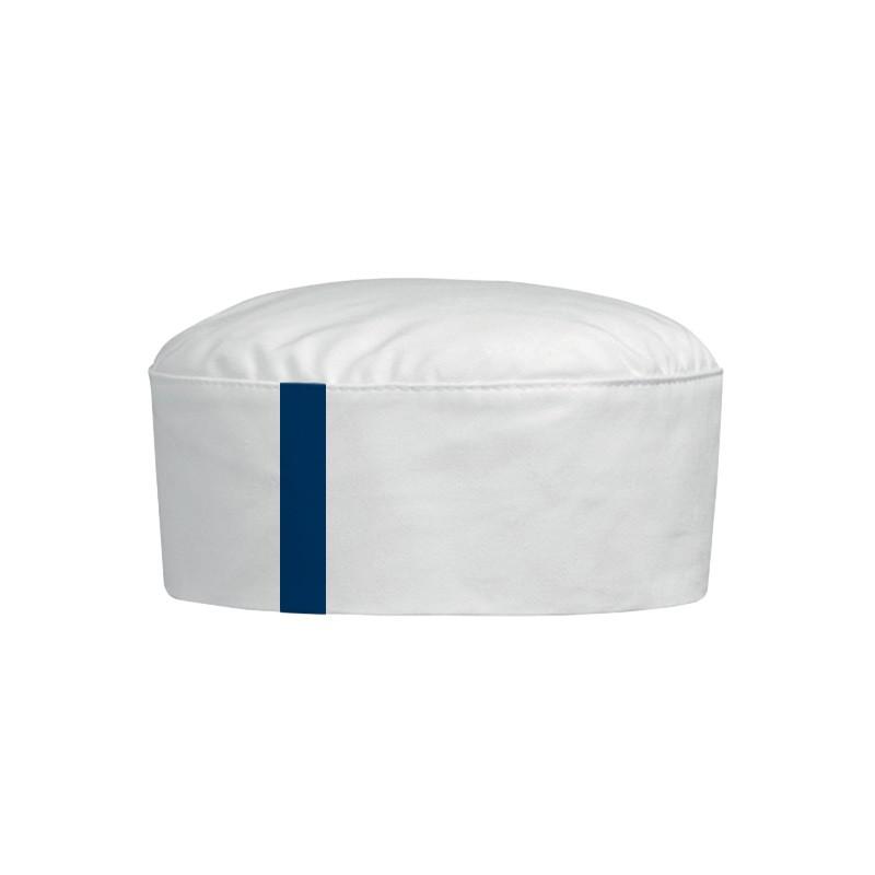 Calot blanc avec une bande bleu marine
