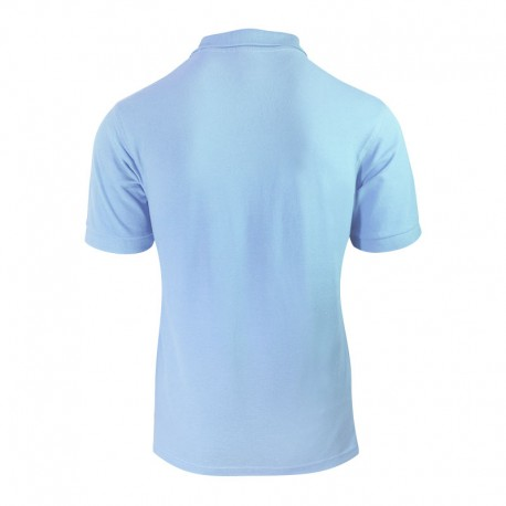 Polo homme couleur bleu ciel à manches courtes élastiques vue de derrière