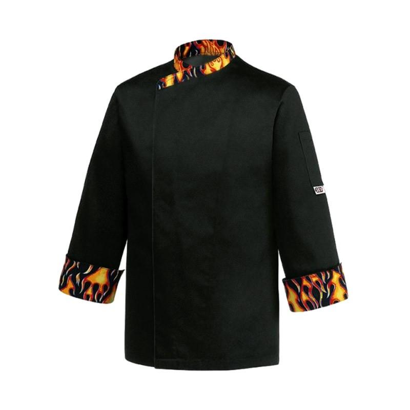 VESTE DE CUISINE DEVIL, veste noire avec motif flamme, originalité et qualité, coupe droite manches longues