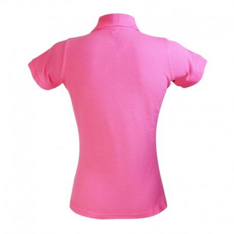 Polo style serveuse de couleur rose pour femme vue de dos