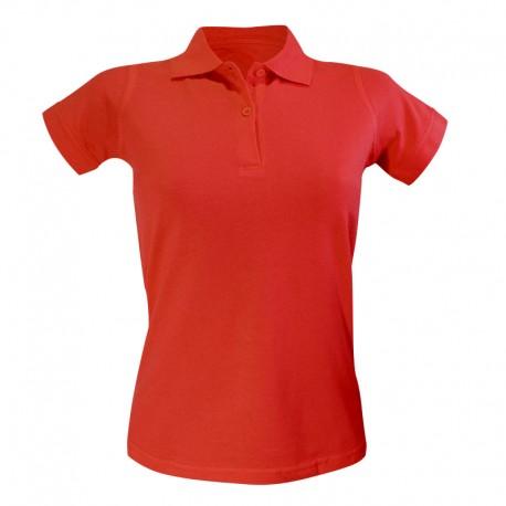 Polo femme de couleur rouge manches courtes