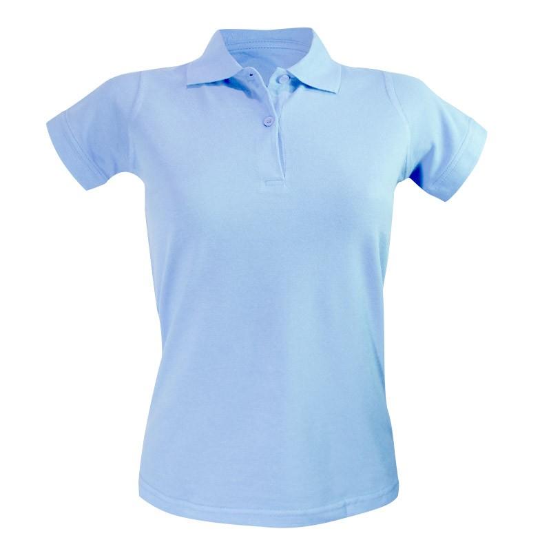 Polo femme bleu ciel à manches courtes