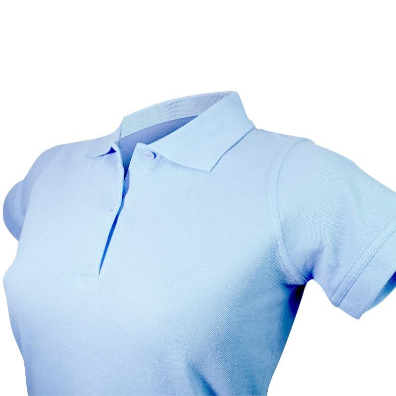 Polo bleu ciel à manche courtes détail col et boutons