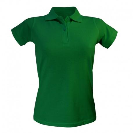 Polo femme vert foncé à manches courtes