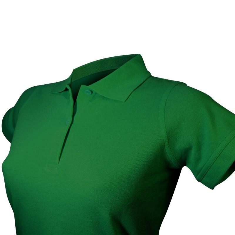 Polo vert foncé féminin détail col et boutons