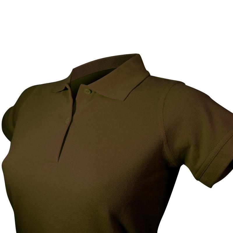Polo marron femme détail col et boutons