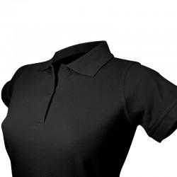 Polo de couleur noir pour femme avec détails vue col et manches courtes