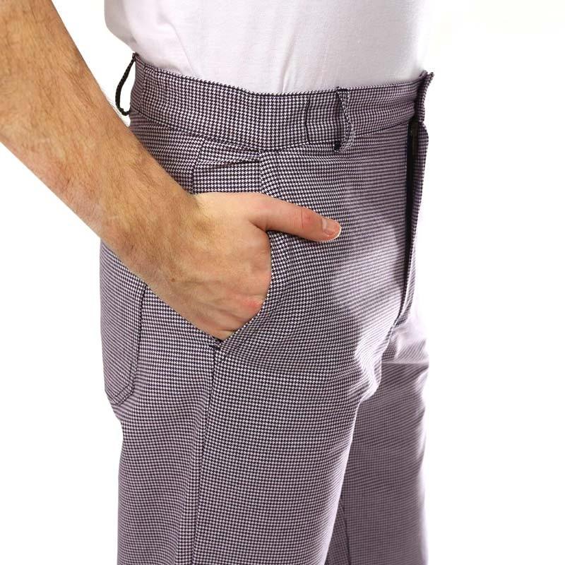 Pantalon De Boulanger Pied De Poule Poches Latérales
