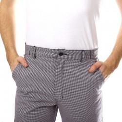 Pantalon De Boulanger Pied De Poule Ceinture élastiquée