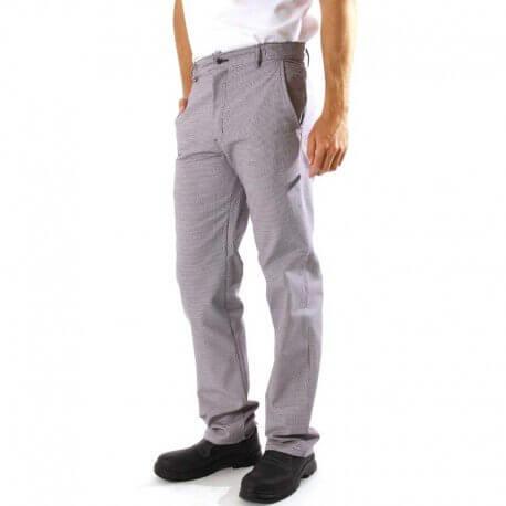 Pantalon de cuisine pied de poule Lafont Chlorable et original. Tissu résistant et agréable à porter. 100% Coton.