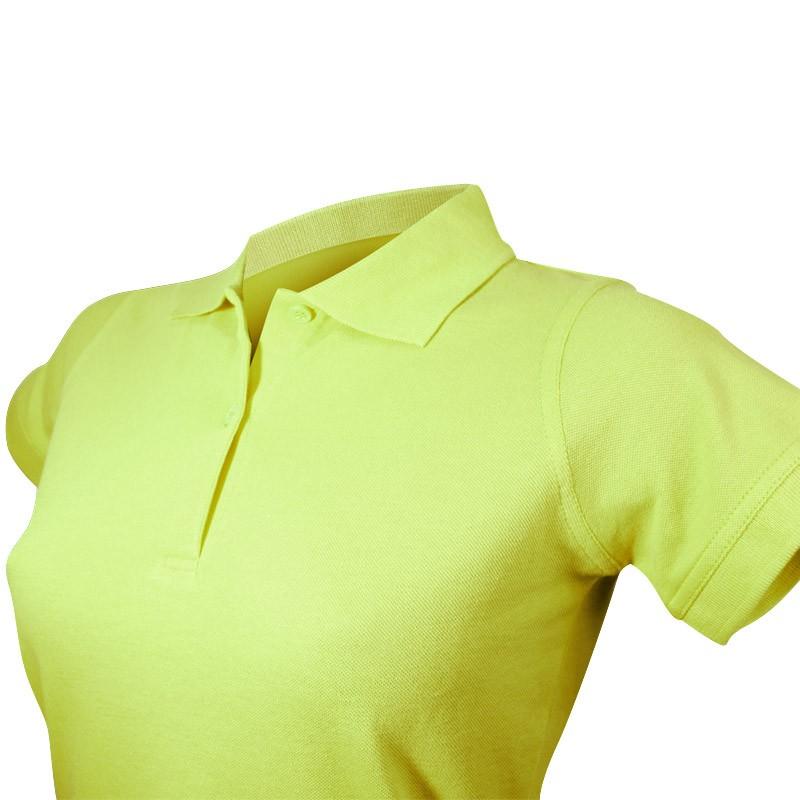 Polo pistache pour femme vue col et boutons