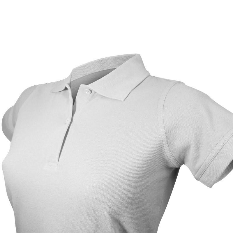 Polo femme détail col et boutons en couleur gris chiné