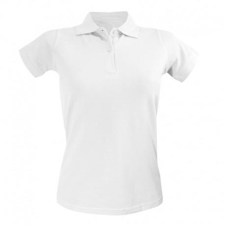 Polo femme à manches courtes de couleur blanche