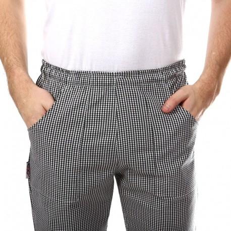 Pantalon de Boulanger petits Carreaux Noirs Ceinture élastique