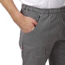 Pantalon de Cuisine Carreaux Noirs hommes Poche confort