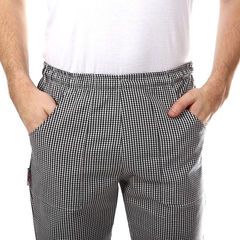 Pantalon de pâtissier Carreaux Noirs Poches Latérales
