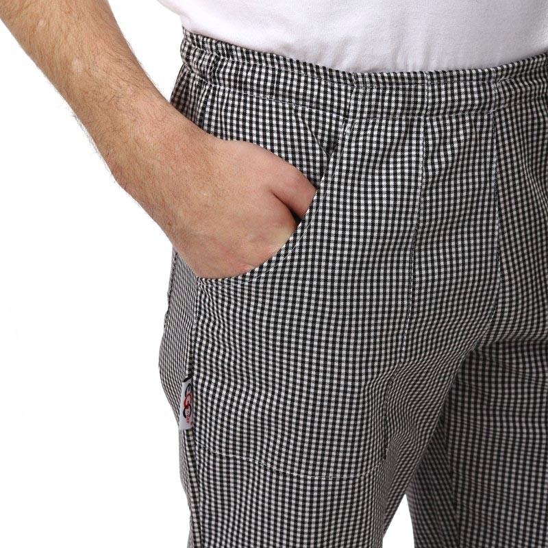 Pantalon de pâtissier Carreaux Noirs Homme Poche Confort