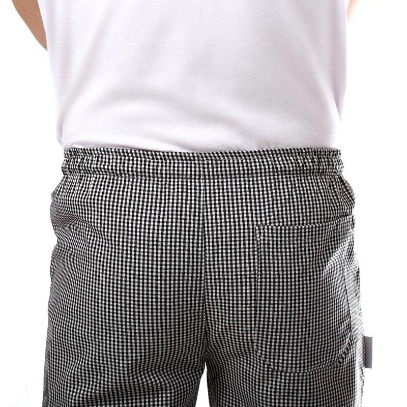 Pantalon de pâtissier Carreaux Noirs Confortable Tissu Coton Doux