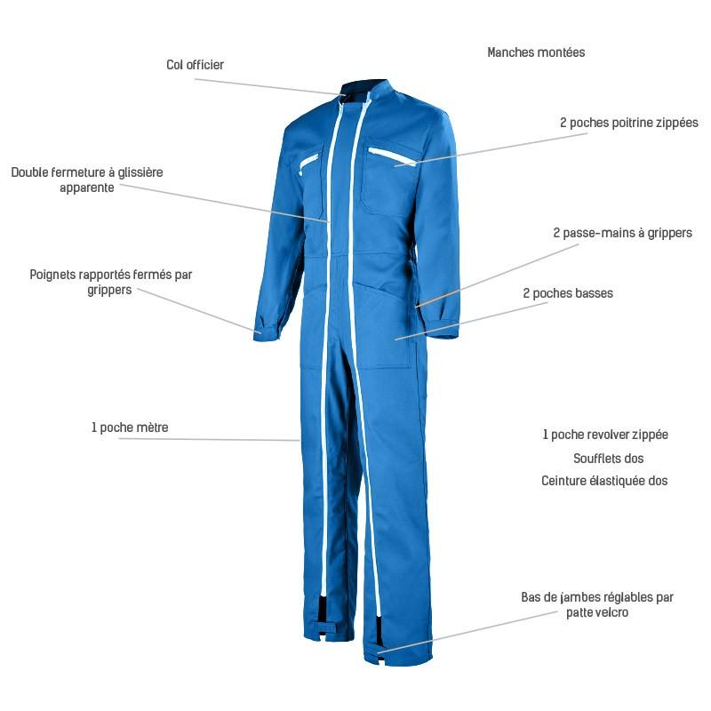 Combinaison de Travail Bleue Innovations Techniques BUGATTI 5BAG80CP