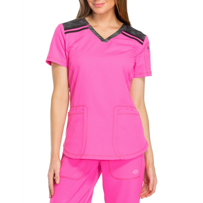 Blouse médicale col v rose Dickies