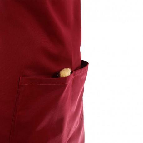 Tablier de pâtissier couleur bordeaux 65% polyester 35% coton