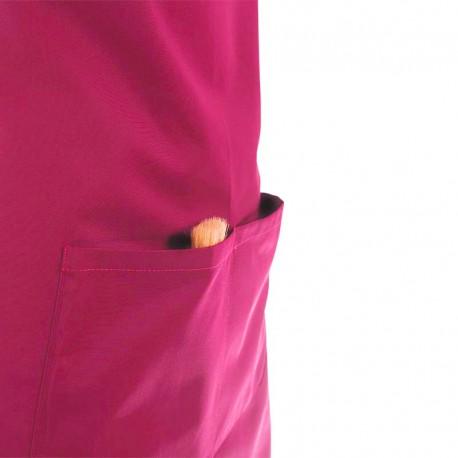 Tablier à Bavette Couleur Rose Fushia et Poches Centrales