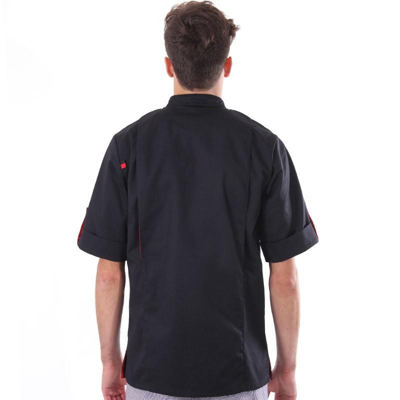 Veste de boucher noire liseré rouge Robur coupe sobre agréable à porter