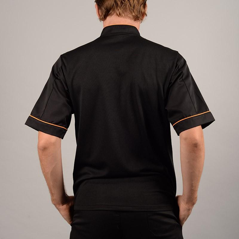 Veste de boucher Noire liseré Orange tissu européen
