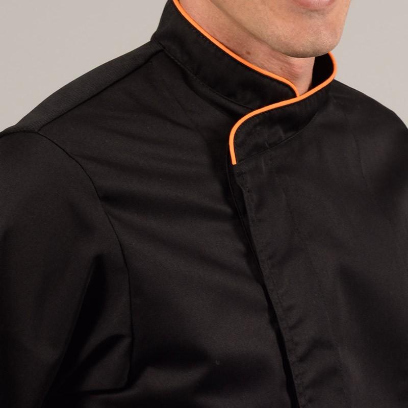 Veste de boucher Noire liseré Orange boutons pressions cachés