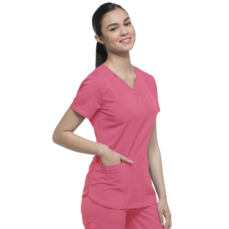 Blouse médicale Femme de la marque Dickies Rose détail poche droite
