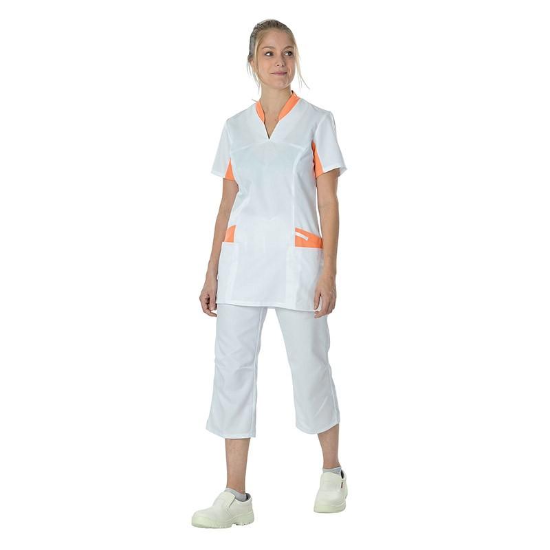 Tenue Lafont blouse médicale blanche et orange Lafont
