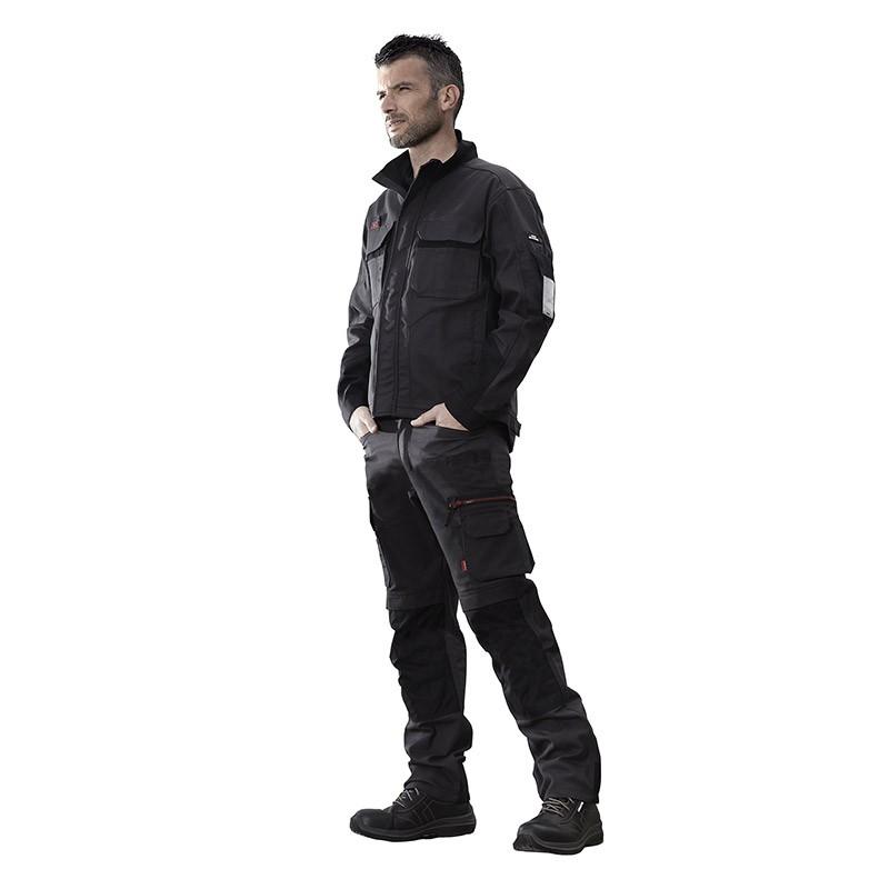 Tenue complète gris charbon/Noir marque Lafont pantalon de travail et blouson