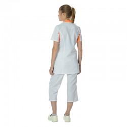 Pantacourt Médical Julia Blanc et blouse médicale blanche et orange Lafont