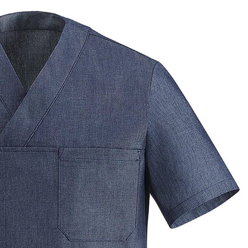 tunique de cuisine jean, col V, parfait pour les cuisiniers originaux, poche poitrine