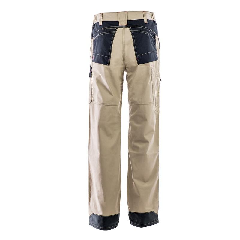 Pantalon Multipoches Protection Genoux Beige homme vue de dos