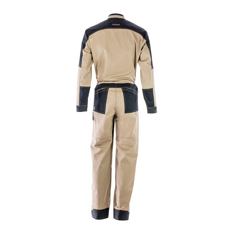 Combinaison de travail 2 zips beige et noir 5ATG80CP Lafont pour homme vue de dos