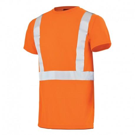 Tee shirt de travail orange fluo orange hivi CHVI Lafont pour homme à manches courtes